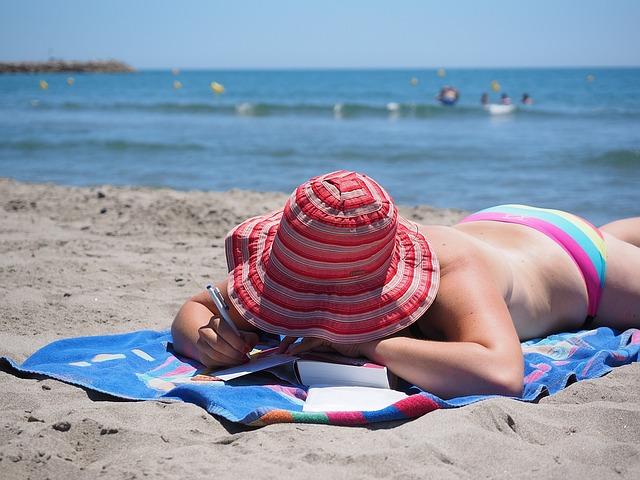 moře, pláž, žena, klobouk