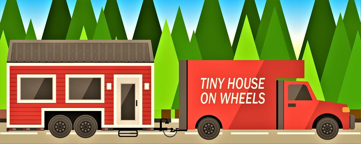 mobilní dům jede